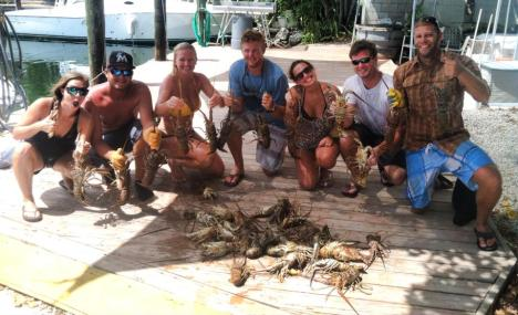 Capt. Chris treated a group of friends from St. Augustine to a few hours of lobster hunting in Florida Bay.  They brought 40 bugs back to the dock and had a feast that night!